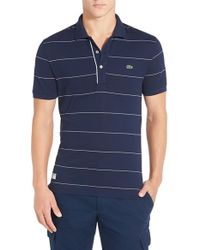 Lacoste | Blue Stripe Pique Polo for Men | Lyst