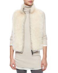 Brunello Cucinelli - Natural Reversible Shearling Coat W/ Fur Vest - Lyst