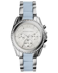Michael Kors - Blue Women'S Chronograph Blair Chambray Acetate And Stainless Steel Bracelet Watch 39Mm Mk6137 - Lyst
