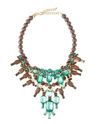 Kenneth Jay Lane - Green Beaded Crystal Bib Necklace - Lyst