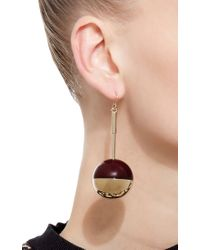 Marni - Red And Gold Metal Globe Earrings - Lyst