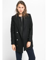 Mango - Black Double-Breasted Wool-Blend Coat - Lyst