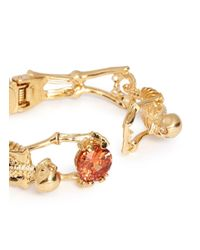 Alexander McQueen - Orange Skeleton Crystal Bracelet - Lyst