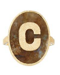 Carolina Bucci - Metallic Gold And Labradorite Sparkle C Initial Ring - Lyst