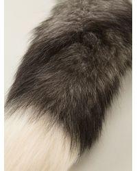 Alexander McQueen - Gray Fox Fur Necklace - Lyst