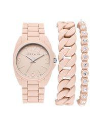 Anne Klein - Metallic Silicone Bracelet Watch Set - Lyst