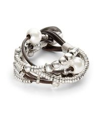 Uno De 50 | Metallic Pearl And Bead Layered Bracelet | Lyst