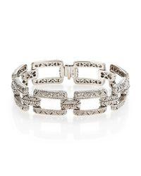 Judith Ripka - Metallic White Sapphire & Sterling Silver Estate Rectangular Linked Bracelet - Lyst