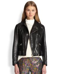 3.1 Phillip Lim Black Leather Sculpted Moto Jacket