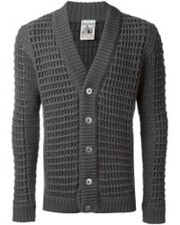S.N.S Herning - Gray Textured Knit Cardigan for Men - Lyst
