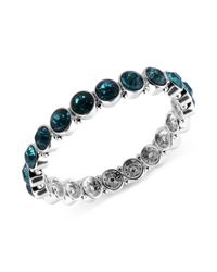 Nine West - Black Silver Tone Faceted Blue Stone Stretch Bracelet - Lyst