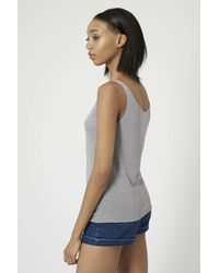 TOPSHOP - Gray Cotton Jersey Blend Vest - Lyst