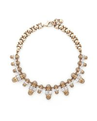 Lulu Frost | Metallic 'phantom' Crystal Pavé Baguette Charm Necklace | Lyst