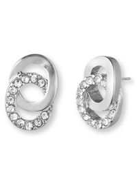 Anne Klein | White Silvertone And Glitz Interlocking Rings Stud Earrings | Lyst