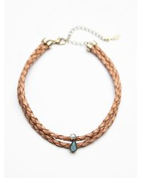 Free People - Brown Womens Double Leather Short Choker - Lyst