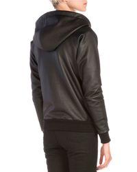 Saint Laurent - Black Waxed-Jersey Zip Hoodie - Lyst
