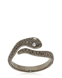 Elise Dray | Black Diamond Studded Midfinger Snake Ring | Lyst