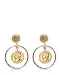 Dolce & Gabbana - Metallic Gold Plated Coin Pendant Earrings - Lyst
