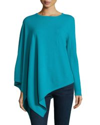 Neiman Marcus | Blue One-sleeve Cashmere Asymmetric Poncho | Lyst