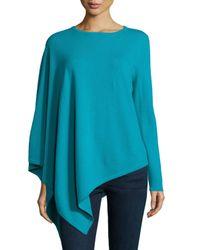 Neiman Marcus - Blue One-sleeve Cashmere Asymmetric Poncho - Lyst