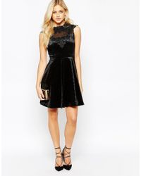 Oasis - Black Velvet Lace Trim Skater Dress - Lyst