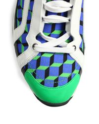 Pierre Hardy - Green Cube Printed Lace-Up Sneakers for Men - Lyst