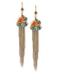 Betsey Johnson | Metallic Gold-tone Multicolor Woven Fringe Earrings | Lyst