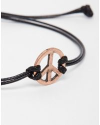 ASOS - Black Bracelet With Peace Charm for Men - Lyst