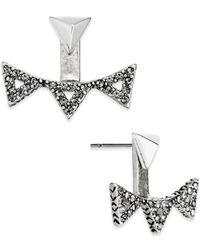 House of Harlow 1960 - Metallic Silver-tone Pavé Triangle Ear Jackets - Lyst