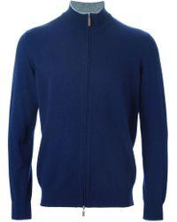 Della Ciana - Blue Zip Cardigan for Men - Lyst