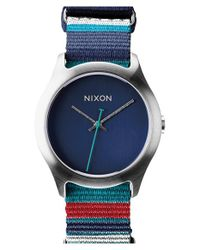 Nixon - Blue 'the Mod' Patterned Canvas Strap Watch - Lyst