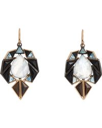 Nak Armstrong - Black Mixed Gemstone Geometric Drop Earrings - Lyst