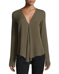 Theory | Green Meniph Long-sleeve Silk Top | Lyst