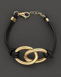 Faraone Mennella | 18 Kt Gold and Black Leather Nodi Bracelet | Lyst