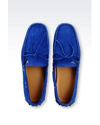 Emporio Armani - Blue Suede Driving Shoe for Men - Lyst