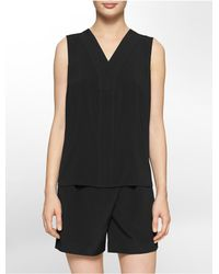 Calvin Klein - Black White Label Double Layer V-neck Sleeveless Top - Lyst