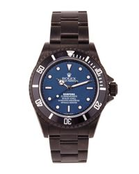 Bamford Watch Department | Black Bamford Monogrammable Submariner With A Blue Dial | Lyst