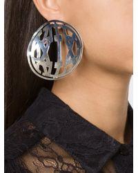 KTZ - Metallic Oversized Round Cut-out Earrings - Lyst