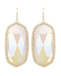 Kendra Scott | Metallic Large Pave-Trim Iridescent Agate Drop Earrings | Lyst