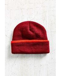 BDG   Red Cuffed Rib-knit Beanie   Lyst