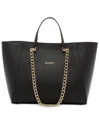 Guess | Black Nikki Chain Tote | Lyst