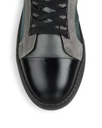 Lanvin - Gray Satin Classic Leather & Rubber High-top Sneakers for Men - Lyst