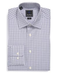 David Donahue | Gray Trim Fit Check Dress Shirt for Men | Lyst