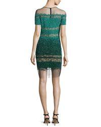 Pamella Roland - Green Short-sleeve Signature Ombre Sequin Dress - Lyst