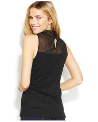 INC International Concepts - Black Sleeveless Illusion Embroidered Top - Lyst