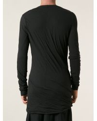 Rick Owens - Black Draped T-Shirt for Men - Lyst