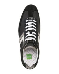 BOSS Green - Black Sneakers 'spacito' In A Textile Mix With Leather for Men - Lyst