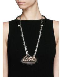 Venna - White 'love' Crystal Slogan Star Chain Open Necklace - Lyst