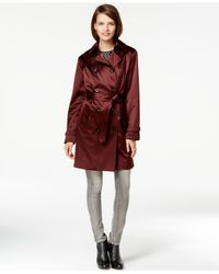 Michael Kors | Purple Michael Satin Trench Coat | Lyst