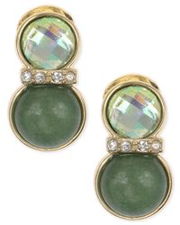 Jones New York | Gold-tone Brass Green Agate And Epoxy Clip-on Earrings | Lyst